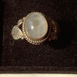 Hand crafted sterling moonstone ring Sz 10.5
